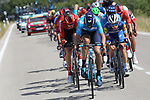 Crosstail winds from Km0 ensured a frantic stage with groups all over the road in echelons here the lead group including Wilco Kelderman (NED) Team Sunweb, Nelson Oliveira (POR) Movistar Team and James Knox (GBR) Deceuninck-Quick Step during Stage 17 of La Vuelta 2019  running 219.6km from Aranda de Duero to Guadalajara, Spain. 11th September 2019.<br /> Picture: Luis Angel Gomez/Photogomezsport | Cyclefile<br /> <br /> All photos usage must carry mandatory copyright credit (© Cyclefile | Luis Angel Gomez/Photogomezsport)