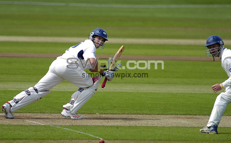 Picture by Chris Whiteoak/SWPIX.COM, County Championship Division 1, Yorkshire v Lancashire, Day 3, 18/05/06..Copyright>>Simon Wilkinson>>07811267706..Yorkshire's Michael Lumb scores more runs Lancashire's Ian Sutcliffe in pic