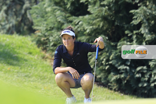 Joanna Klatten (FRA) lines up her putt on the 6th green during Friday's Round 2 of the LPGA 2015 Evian Championship, held at the Evian Resort Golf Club, Evian les Bains, France. 11th September 2015.<br /> Picture Eoin Clarke   Golffile