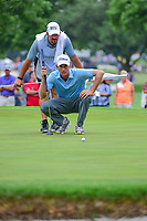 Webb Simpson (USA) lines up his birdie attempt on 2 during round 4 of the Dean &amp; Deluca Invitational, at The Colonial, Ft. Worth, Texas, USA. 5/28/2017.<br /> Picture: Golffile | Ken Murray<br /> <br /> <br /> All photo usage must carry mandatory copyright credit (&copy; Golffile | Ken Murray)