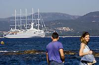 """Europe/Provence-Alpes-Côte d'Azur/83/Var/Saint-Tropez:   le voilier """"Club-Méditerrannée 2 """" dans le golfe de Saint-Tropez"""