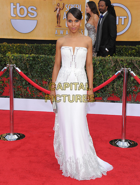 Kerry Washington (wearing Rodarte).Arrivals at the 19th Annual Screen Actors Guild Awards at the Shrine Auditorium in Los Angeles, California, USA..27th January 2013.SAG SAGs full length white dress strapless gown structured bodice clutch bag.CAP/DVS.©DVS/Capital Pictures.