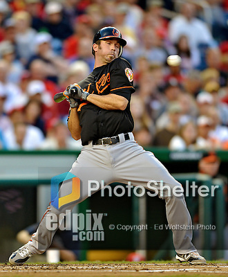 18 May 2012: Baltimore Orioles infielder J. J. Hardy is brushed back by a pitch during action against the Washington Nationals at Nationals Park in Washington, DC. The Orioles defeated the Nationals 2-1 in the first game of their 3-game series. Mandatory Credit: Ed Wolfstein Photo