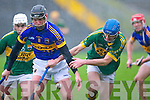 Kerry's Jason Leahy and Tipperary's David Collins fight for the ball in the Waterford Crystal cup at Austin Stack park, Tralee on Sunday.