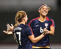 Lori Chalupny (10) and Natasha Kai (6) of USA after the second USA goal during an international friendly match against South Korea at City Stadium on November 1, 2008 in Richmond, Virginia. USA won 3-1.