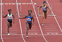 Nia Ali (United States) wins in the women's 100m hurdles heat during the IAAF Diamond League Athletics Müller Grand Prix Birmingham at Alexander Stadium, Walsall Road, Birmingham on 18 August 2019. Photo by Alan  Stanford.