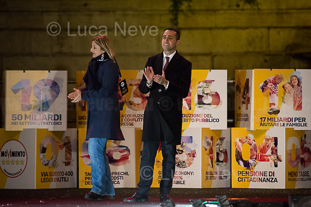 Rome, 02/03/2018. Today, the Five Star Movement, led by Luigi Di Maio (Italian Politician, leader of the Five Star Movement and Vice President of the Chamber of Deputies, http://bit.ly/2oCMzcq), held a rally in Piazza del Popolo to close its electoral campaign for the Italian General Election 2018. Since the early afternoon, thousands of people gathered in the famous Piazza in Rome to support the political and anti-establishment movement founded by Beppe Grillo (Italian comedian, actor, blogger and political activist, http://bit.ly/2G0MSFF) and the late Gianroberto Casaleggio (Italian entrepreneur and political activist, co-founder and chairman of Casaleggio Associati srl, an internet and publishing company that advises on network strategies, and editor of Beppe Grillo's blog, http://bit.ly/2G0M2sv). Guests included: Virginia Raggi (Major of Rome), Davide Casaleggio (Son of Gianroberto Casaleggio and President of Casaleggio Associati), Luigi Di Maio MP, Roberta Lombardi (Five Star Movement candidate for the Presidency of the Lazio region), Paola Taverna MP, Roberto Fico MP, Alessandro Di Battista MP and Beppe Grillo.     <br /> <br /> For more information please click here: https://www.ilblogdellestelle.it/
