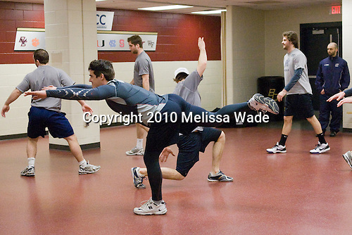 Merrimack players warmup prior to the game. - The Boston College Eagles defeated the Merrimack College Warriors 7-0 on Tuesday, February 23, 2010 at Conte Forum in Chestnut Hill, Massachusetts.