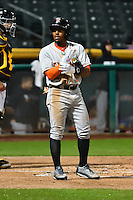 Tony Kemp (5) of the Fresno Grizzlies at bat against the Salt Lake Bees in Pacific Coast League action at Smith's Ballpark on April 13, 2016 in Salt Lake City, Utah. The Grizzlies defeated the Bees 6-0. (Stephen Smith/Four Seam Images)