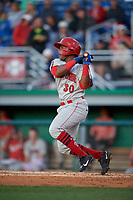 Auburn Doubledays Landerson Pena (30) bats during a NY-Penn League game against the Batavia Muckdogs on August 31, 2019 at Dwyer Stadium in Batavia, New York.  Auburn defeated Batavia 12-5.  (Mike Janes/Four Seam Images)