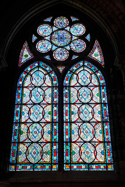 Medieval Stained Glass windows from the Gothic Cathedral Basilica of Saint Denis ( Basilique Saint-Denis ) Paris, France. A UNESCO World Heritage Site.