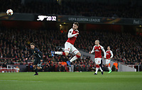 Arsenal's Aaron Ramsey scores his side's third goal <br /> <br /> Photographer Rob Newell/CameraSport<br /> <br /> UEFA Europa League Quarter-Final First Leg - Arsenal v CSKA Moscow - Thursday 5th April 2018 - The Emirates - London<br />  <br /> World Copyright &copy; 2018 CameraSport. All rights reserved. 43 Linden Ave. Countesthorpe. Leicester. England. LE8 5PG - Tel: +44 (0) 116 277 4147 - admin@camerasport.com - www.camerasport.com