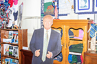 A cardboard cutout of President Donald Trump is seen at the Visitors Center at the NH State House in Concord, New Hampshire, on Wed., November 13, 2019. The Visitors Center has a large display of campaign materials from previous presidential campaigns and a small display about the current president.