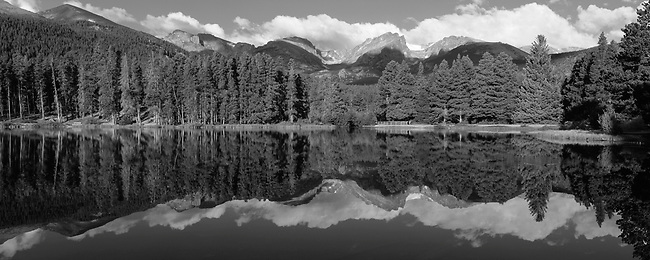 summer, morning, Sprague Lake, Rocky Mountain National Park, Colorado, black and white