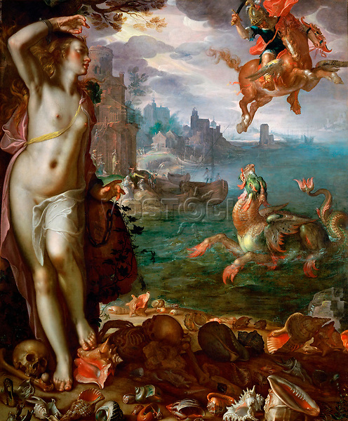 Perseus Freeing Andromeda by Wtewael, Joachim (1566-1638) / Louvre, Paris / 1611 / Holland / Oil on canvas / Mythology, Allegory and Literature / 180x150 / Baroque