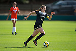 Maddie Huster (11) of the Wake Forest Demon Deacons pushes the ball up the field during first half action against the Clemson Tigers at Riggs Field on October 22 2017 in Clemson, South Carolina.  The Tigers defeated the Demon Deacons 2-1. (Brian Westerholt/Sports On Film)