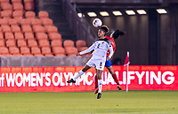 HOUSTON, TX - JANUARY 28: Katherine Castillo #8 of Panama goes up for a header with Shirley Cruz #10 of Costa Rica during a game between Costa Rica and Panama at BBVA Stadium on January 28, 2020 in Houston, Texas.