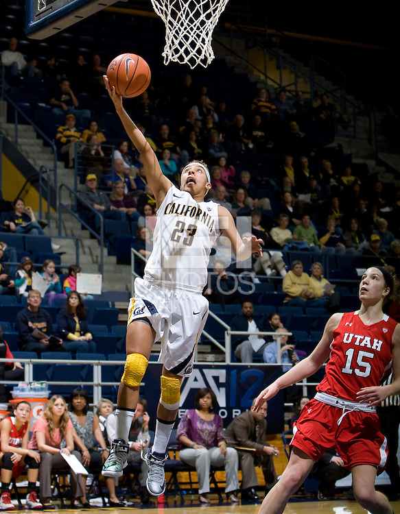 Layshia Clarendon of California shoots the ball during the game against Utah Utes at Haas Pavilion in Berkeley, California on January 27th, 2013.  California defeated Utah, 71-54.