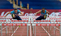 winner Aries MERRITT of USA and 2nd placed Sergey SHUBENKOV (left) during the 110m hurdles during the Muller Grand Prix Birmingham Athletics at Alexandra Stadium, Birmingham, England on 20 August 2017. Photo by Andy Rowland.