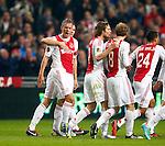 Nederland, Amsterdam, 1 december 2012.Seizoen 2012-2013.Eredivisie.Ajax-PSV .Siem de Jong (2e van links.) van Ajax juicht nadat hij de 1-0 heeft gescoord. V.l.n.r.: Derk Boerrigter, Siem de Jong, Daley Blind, Christian Eriksen en Ricardo van Rhijn van Ajax.