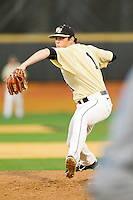 Matt Pirro #1 of the Wake Forest Demon Deacons in action against the UNC-Asheville Bulldogs at Wake Forest Baseball Park on February 28, 2012 in Winston-Salem, North Carolina.  The Demon Deacons defeated the Bulldogs 9-8.  (Brian Westerholt/Four Seam Images)
