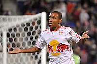 Juan Agudelo (17) of the New York Red Bulls looks to pump up the crowd during the first half. The New York Red Bulls defeated the Seattle Sounders 1-0 during a Major League Soccer (MLS) match at Red Bull Arena in Harrison, NJ, on March 19, 2011.