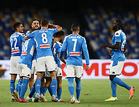 25th July 2020; Stadio San Paolo, Naples, Campania, Italy; Serie A Football, Napoli versus Sassuolo; Elseid Hysaj of Napoli celebrates after scoring his goal in the 8th  minute for 1-0 with team mates