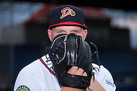 Danville Braves pitcher Drew Harrington (28) poses for a photo prior to the game against the Pulaski Yankees at American Legion Post 325 Field on August 2, 2016 in Danville, Virginia.  The game was cancelled due to rain.  (Brian Westerholt/Four Seam Images)