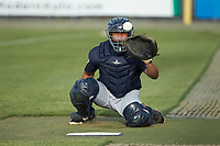 Pulaski Yankees catcher Gustavo Campero (24) warms up his starting pitcher in the bullpen prior to the game against the Burlington Royals at Burlington Athletic Stadium on August 25, 2019 in Burlington, North Carolina. The Yankees defeated the Royals 3-0. (Brian Westerholt/Four Seam Images)