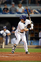 Charlotte Stone Crabs center fielder Jake Fraley (23) at bat during a game against the Palm Beach Cardinals on April 11, 2017 at Charlotte Sports Park in Port Charlotte, Florida.  Palm Beach defeated Charlotte 12-6.  (Mike Janes/Four Seam Images)