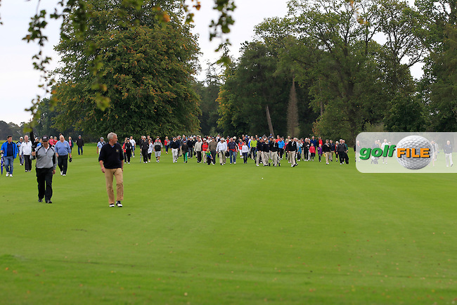 The crowd walking down the 18th during the AIG Senior Cup Final between Tramore &amp; Co. Sligo in the AIG Cups &amp; Shields at Carton House on Saturday 20th September 2014.<br /> Picture:  Thos Caffrey / www.golffile.ie