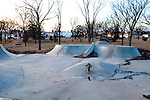 Kendrick Brinson.LUCEO..Tate Johnson, 10, rides his scooter with friends at the Williston Skatepark in Williston, North Dakota, January 2012. Williston is currently experiencing an influx of people relocating there for the town's third oil boom. ..Model Released: no.Assigning Editor: Michael Wichita.