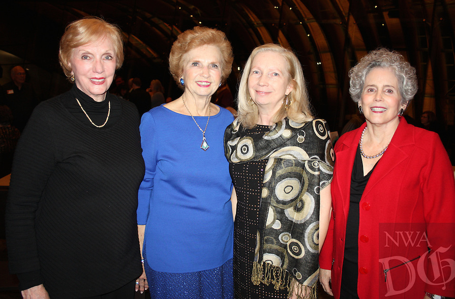 NWA Democrat-Gazette/CARIN SCHOPPMEYER Helen Buchanon (from left), Margaret Whillock, Sallie Overby and Suzanne Patton attend the Crystal Bridges reception for original members of the museum Dec. 12.