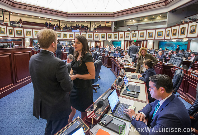 Rep. Jennifer Sullivan, R- Mount Dora, right, talks to Rep. James Grant, R-Tampa, during Florida House of Representatives floor debate at the Florida Capitol in Tallahassee, Florida.