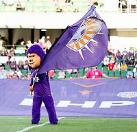 1st February 2020; HBF Park, Perth, Western Australia, Australia; A League Football, Perth Glory versus Melbourne Victory; Perth Glory's mascot waving the Glory flag