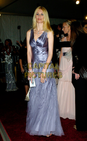 "CLAUDIA SCHIFFER .2007 Metropolitan Museum of Art Costume Institute Gala celebrating ""Poiret: King of Fashion"" exibition at the Metropolitan Museum of Art, New York City, New York, USA..May 7th, 2007.full length purple satin sheer dress chiffon gown silver clutch purse pleated sleeveless.CAP/ADM/BL.©Bill Lyons/AdMedia/Capital Pictures *** Local Caption ***"