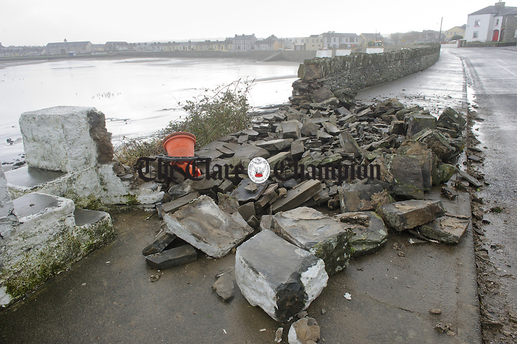 A damaged sea wall at West End Kilkee as a result of Storm Imogen. Photograph by John Kelly.