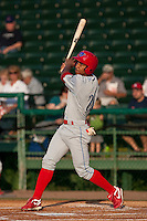May 6 2010: Anthony Gose (24) of the Clearwater Threshers during a game vs. the Daytona Cubs at Jackie Robinson Ballpark in Daytona Beach, Florida. Clearwater, the Florida State League High-A affiliate of the Philadelphia Phillies, won the game against Daytona, affiliate of the Chicago Cubs, by the score of 4-1.  Photo By Scott Jontes/Four Seam Images