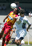 UNAM Pumas midfielder Marco Antonio Palacios (R) fights for the ball with UAG Tecos defender Juan Leano during their soccer match march 19, 2006 at the University Stadium in Mexico City. UAG Tecos won 1-0 to UNAM Pumas. Photo by © Javier Rodriguez