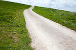 White pathway road on chalk downland Allington Down, Wiltshire, England