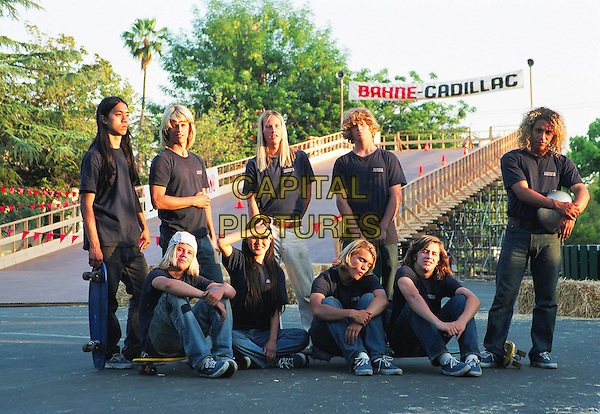 The Z-Boys at Del Mar ..(L to R Top Row) Don Nguyen (SHOGO), Mike Ogas (BOB BINIAK), JOHN ROBINSON (STACY PERALTA), Cheyne Magnusson (JIM ÔRED DOGÕ MUIR), VICTOR RASUK (TONY ALVA)..(L to R Bottom Row) Kristian Peterson (Wentzle), Stephanie Limb (Peggy Oki), EMILE HIRSCH (JAY ADAMS) and MICHAEL ANGARANO (SID).in Lords of Dogtown.*Editorial Use Only*.www.capitalpictures.com.sales@capitalpictures.com.Supplied by Capital Pictures.