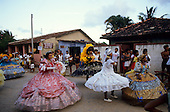 Recife, Pernambuco State, Brazil; Maracatu carnival procession.