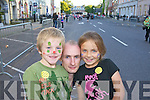 Michael Garry, Trevor O'Callaghan and Megan Garry. pictured at world record attempt for the largest-ever Irish dancing session, in Denny street, Tralee on Friday evening.
