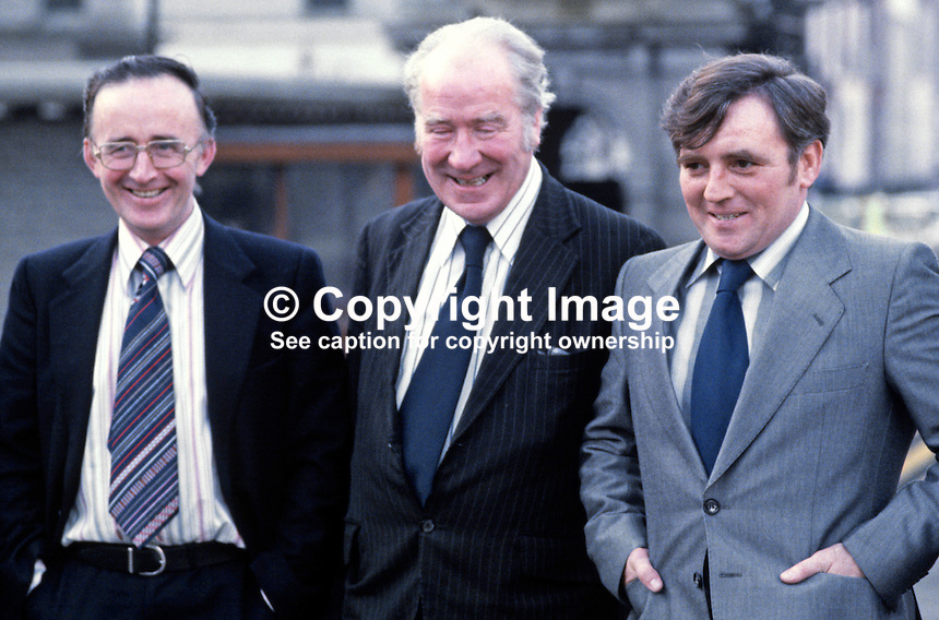 Captain James Kelly, Irish Army (left), Dr Bill Loughnane, Fianna Fail TD (centre), and John Kelly, prominent Belfast republican, photographed outside Leinster House, Dublin, Rep of Ireland. James and John Kelly featured in the Dublin Arms Trial. 35/80, 1980035G.<br />