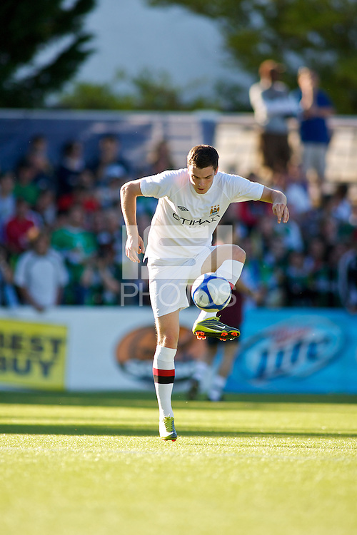 Manchester City midfielder Adam Johnson warms up before a match at Merlo Field in Portland Oregon on July 17, 2010.