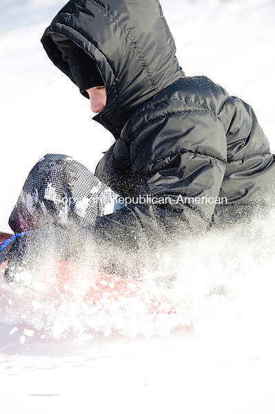 WATERBURY, CT - 3 January 2014-010314EC06--   Mason Artman, 9, of Waterbury, sleds at Fulton Park in Waterbury Friday afternoon. Erin Covey Republican-American.