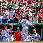 14 April 2018: Washington Nationals catcher Matt Wieters returns to the dugout after hitting a solo home run in the 4th inning against the Colorado Rockies at Nationals Park in Washington, DC. The Nationals rallied to defeat the Rockies 6-2 in the 3rd game of their 4-game series. Mandatory Credit: Ed Wolfstein Photo *** RAW (NEF) Image File Available ***