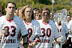 Orange, CA 05/02/10 - Blake Whitcomb (Chapman # 33), Connor Martin (Chapman # 99), Spencer Halvorsen (Chapman # 30) listen to the national anthem before the MCLA SLC Division I championship game against Arizona State