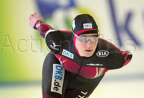 05.03.2016. Berlin, Germany. Claudia Pechstein of Germany starts her 3000m race against Graf of Russia, at the ISU World Allround Speed Skating Championships in Berlin.