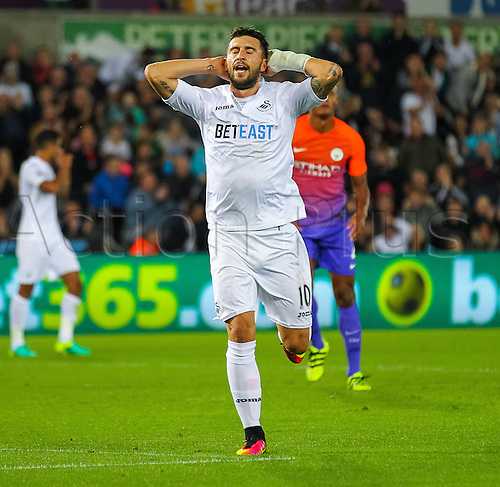 21.09.2016. Liberty Stadium, Swansea, Wales. Football League Cup Football. Swansea versus Manchester City. Swansea City's Borja Baston shows his frustration after Manchester City's Willy Caballero tips his shot over the bar